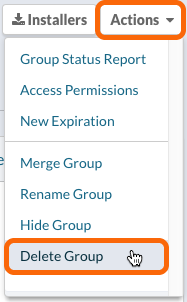 Actions > Delete Group