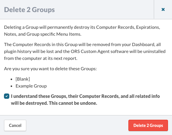 Delete Groups Confirmaton Dialog.
