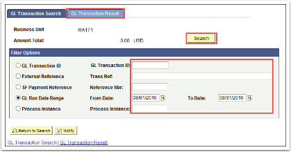 GL Transaction Result tab