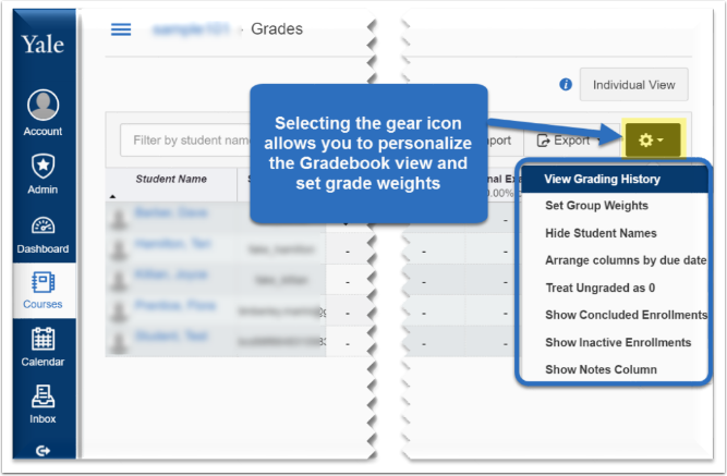 screenshot of gear icon where you can personalize the grade book view and set grade weights.
