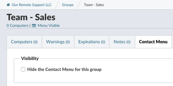 Managing the Contact Menu for Entire Groups
