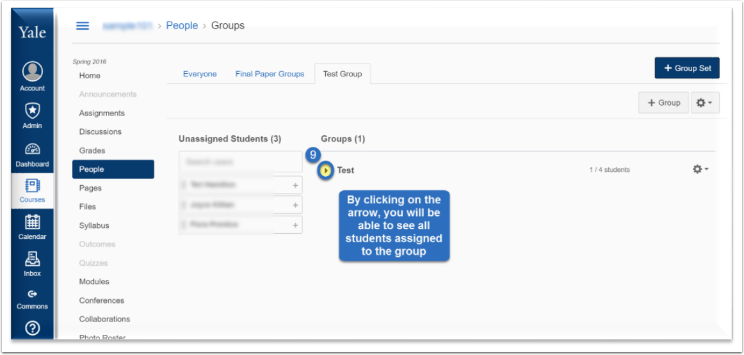 By clicking on the arrow next to the group's name, you will be able to see all students assigned to the group.