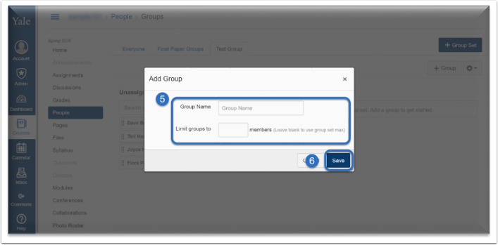 Name your group and identify if you want to limit the group to a specific number of members