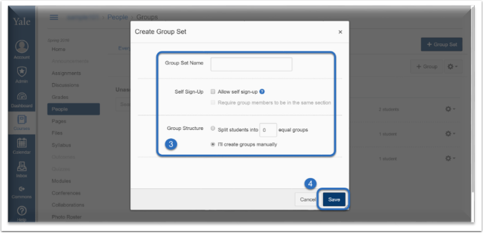 screenshot of the options that you can have while creating group sets.