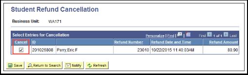 Student Refund Cancellation