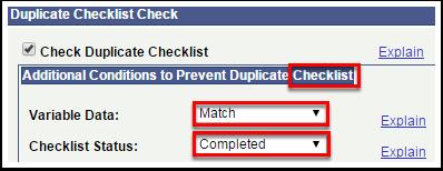 Duplicate Checklist Check