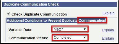 Duplicate Communication Check
