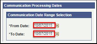 Communication Data Range Selection
