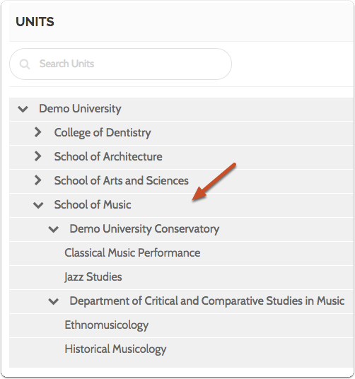 The units you add will show up in the list of units, each nested under the appropriate higher organizational unit