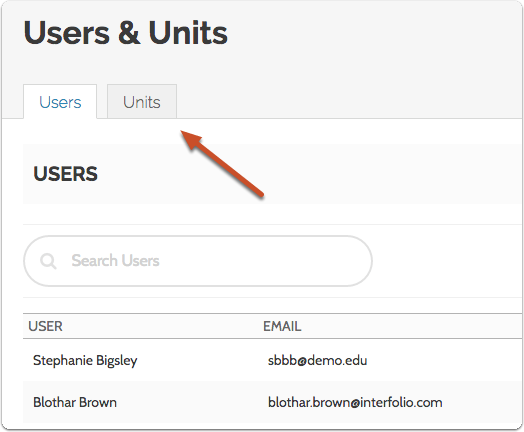 "Once on on the Users & Units page, click to open the ""Units"" tab"