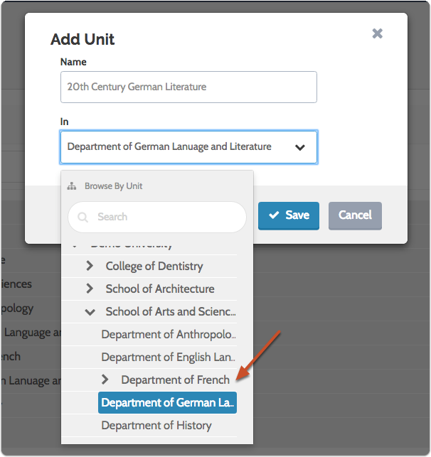 Enter as many units as you need to recreate the hierarchy of your institution