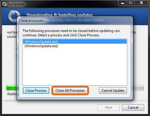 It may be necessary to close background WindowsUpdate processes