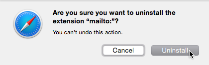 Confirm uninstalling the mailto: extenion.