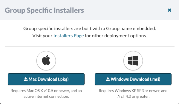 Group-Specific Installers (pkg, msi)