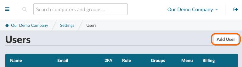 Add Organization's Users