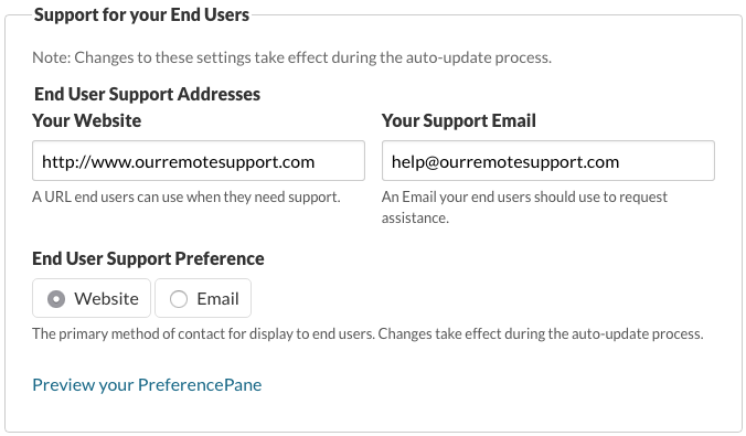 Support for your End Users