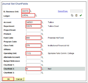 Journal Set ChartFields