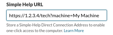 SimpleHelp Direct Connect URLs field