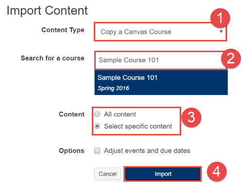 Complete Import Content Form