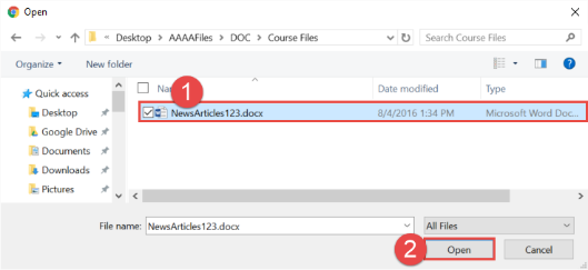 Find the file that you would like to upload within your file explorer and then hit open.