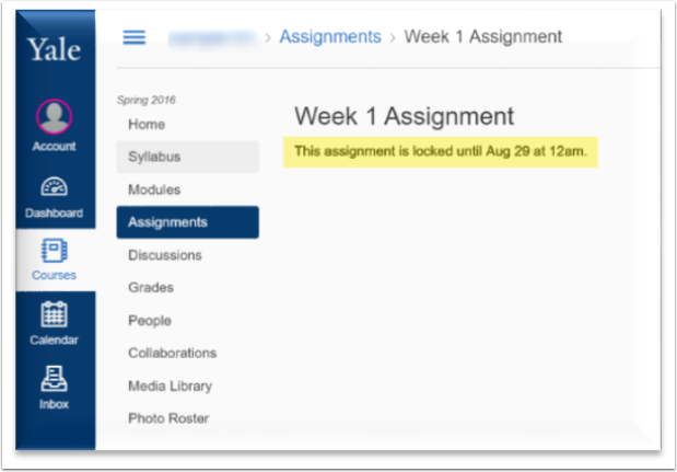 screenshot to identify where the students would see the availability times on the assignment.