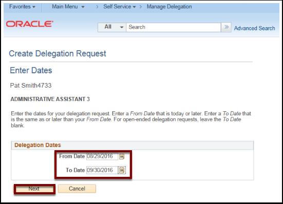 Create Delegation Request