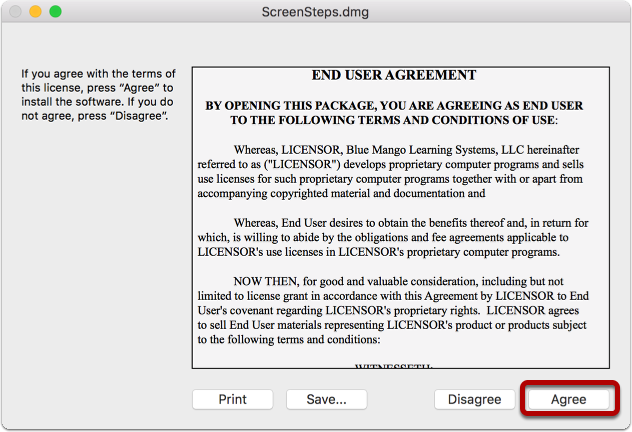 Agree to the End User License Agreement