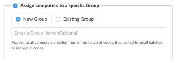 Optionally assign computers to a specific Group