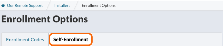 Enrollment Options > Self-Enrollment