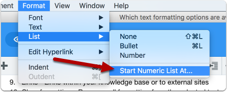 Specifying start number for a numeric list