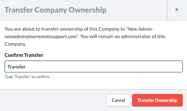 Transfer Company Ownership Confirmation