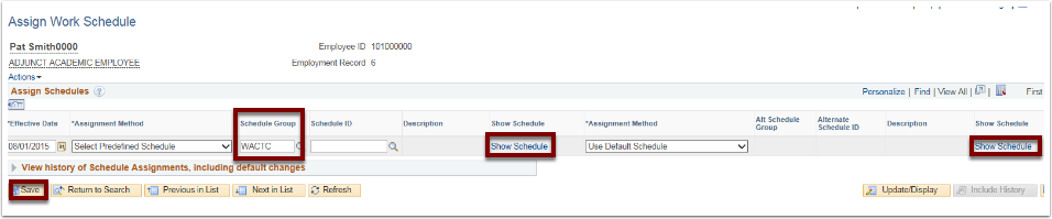 Assign Work Schedule