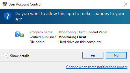 User Account Control > Monitoring Client