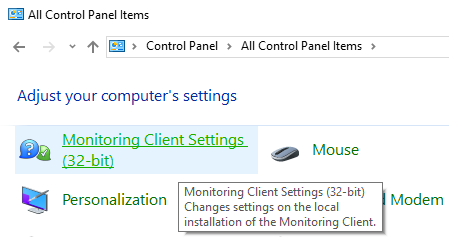 Click on Monitoring Client Settings (32-bit)