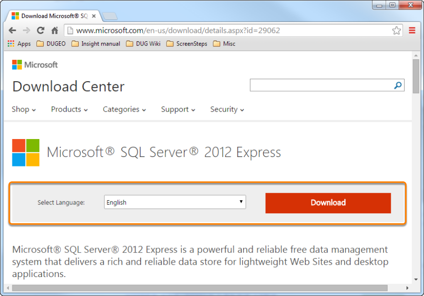 Download SQL Server Express