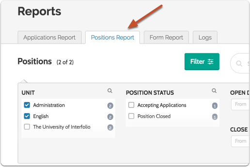 "Select the ""Positions Report"" tab"