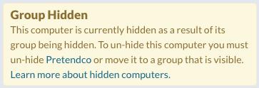 Computer: Group Hidden Notification
