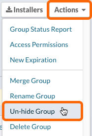 Group Page: Actions > Unhide Group
