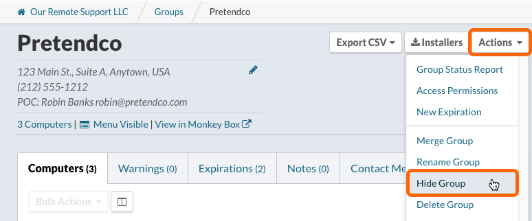 Group Page: Actions > Hide Group