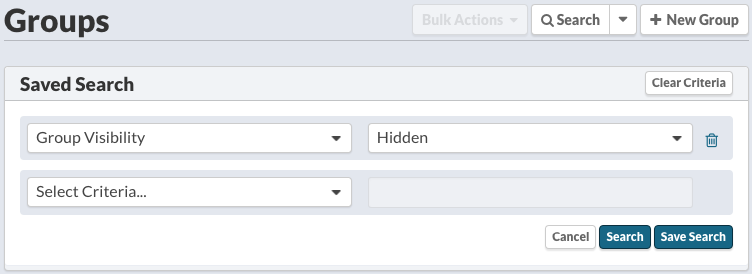 Groups: Search > Visibility:  Hidden