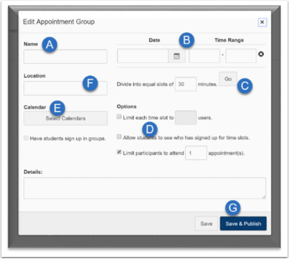 screenshot of the available options for creating an appointment group.