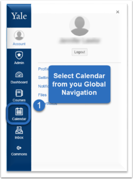 Click on the Calendar within the Global Navigation.