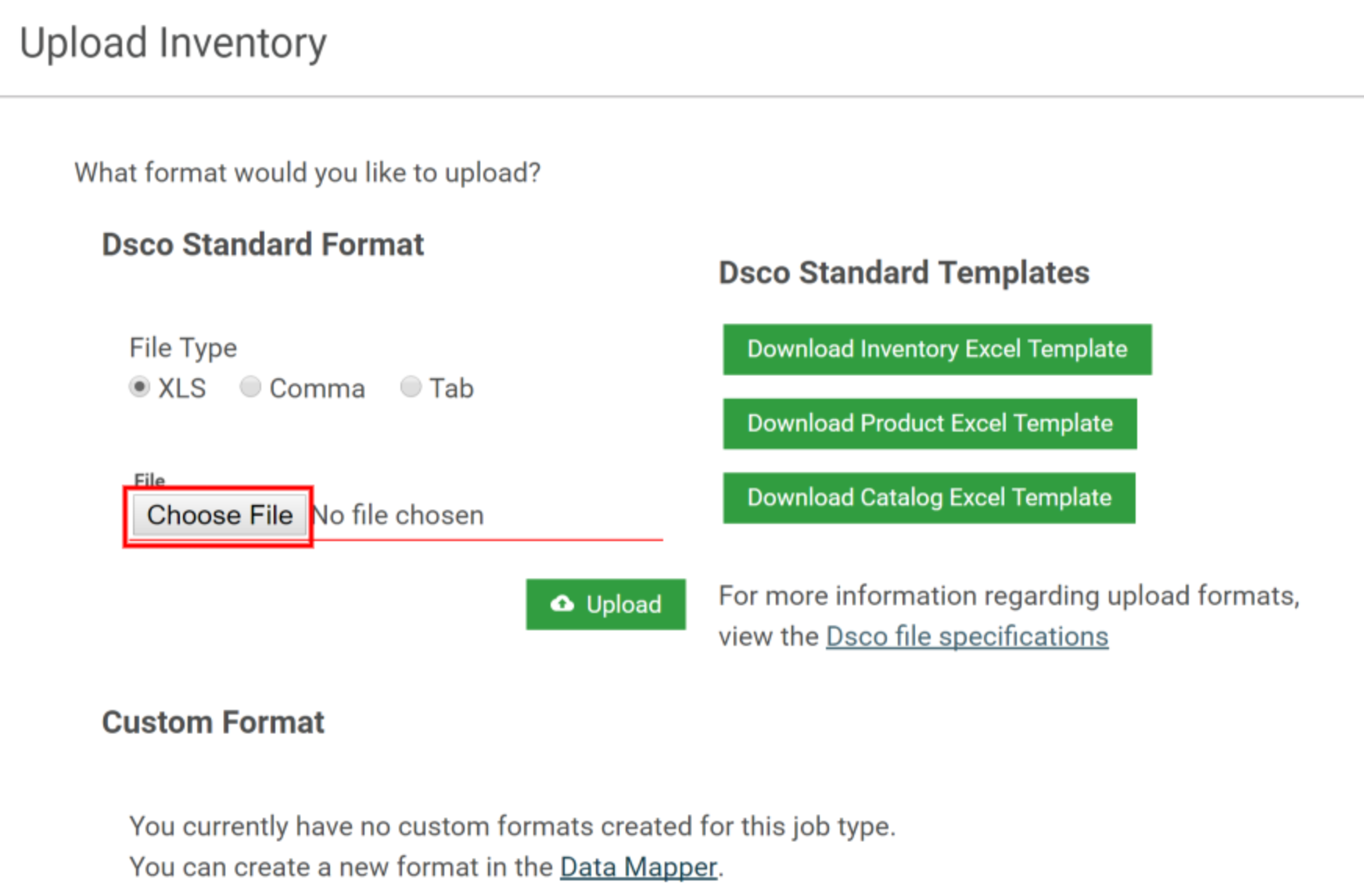 Creating Or Updating Inventory Dsco Support