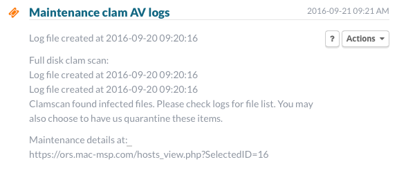 Gruntwork Mac-MSP Maintenance clam AV logs infected files found