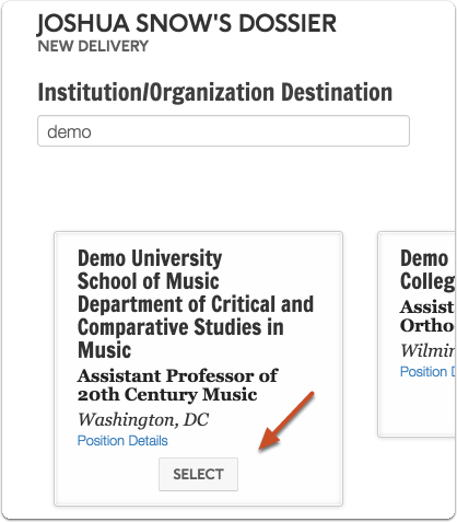 2. Search for and select a position
