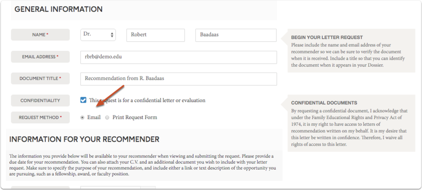 Select the request method (email or print) that you will use to request the recommendation