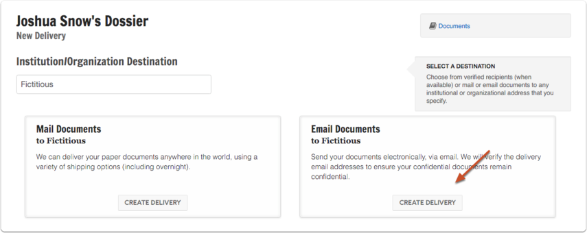 "Enter the destination and click ""Create Delivery"" to email documents"