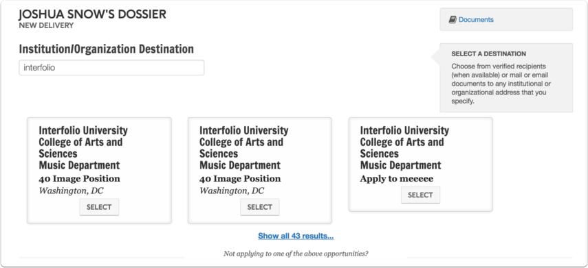 Start typing the name of an institution or organization into the search box