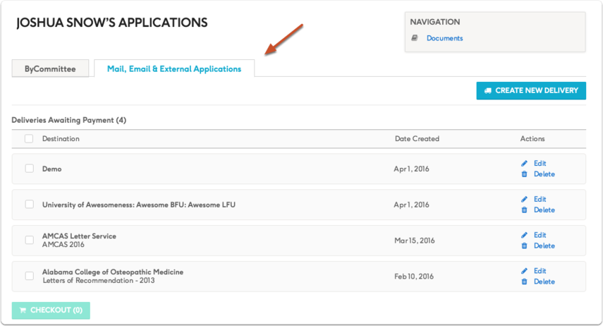 You can review, edit and manage your delivery from your Deliveries & Applications list