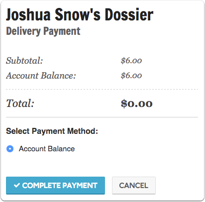 """When you're ready, click """"Proceed to Payment"""" to complete your order on the Delivery Payment screen"""